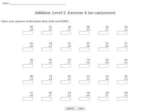Addition: Level 2: Exercise 4 (no carryovers) Worksheet
