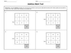 Addition Math Trail Worksheet