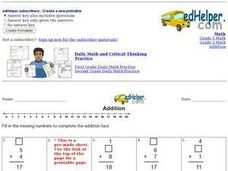 Addition: Missing Numbers with 3 Addends Worksheet