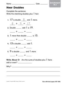 Addition: Near Doubles Worksheet