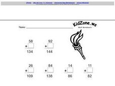 Addition of 2 Digit Numbers-- Missing Addends Worksheet