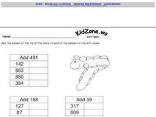 Addition of 3 Digit Numbers-- Math Table Worksheet