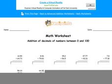 Addition of Decimals of Numbers Between 0 and 100: Part 2 Worksheet