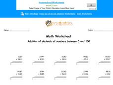 Addition of Decimals of Numbers Between 0 and 100: Part 3 Worksheet