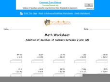 Addition of Decimals of Numbers Between 0 and 100: Part 4 Worksheet