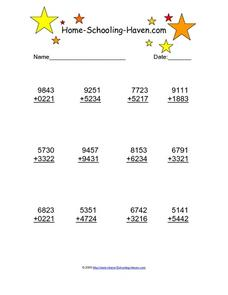Addition of Four Digit Numbers Worksheet