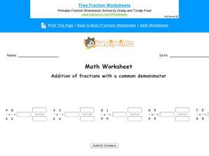 Addition of Fractions with a Common Denominator: Part 2 Worksheet