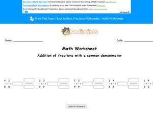 Addition of Fractions With a Common Denominator Worksheet