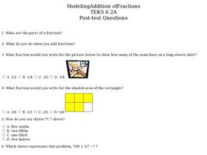 Addition of Fractions Worksheet
