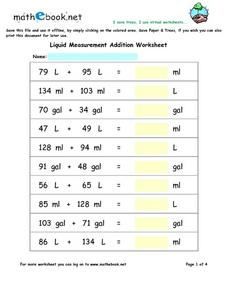 Addition of Metric and Standard Liquid Measurement Worksheet