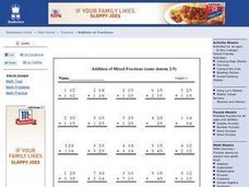 Addition of Mixed Fractions Worksheet