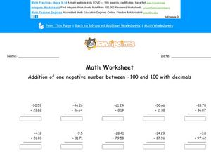 Addition of Negative Numbers and Decimals Lesson Plan