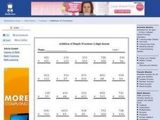 Addition of Simple Fractions Worksheet