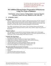 Addition Polymerization: Preparation of Polystyrene Using Two Types of Initiators Lesson Plan