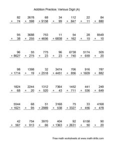 Addition Practice: Various Digit (A) Lesson Plan