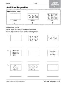 Addition Properties: English Learners Worksheet