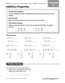 math worksheet : addition properties homework 2nd  4th grade worksheet  lesson  : Properties Of Addition Worksheet