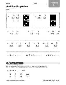 Addition Properties: Practice Worksheet