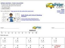 Addition - Single Digits with Four Worksheet