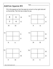 Addition Squares #3 Worksheet