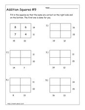 Addition Squares Worksheet