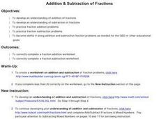 Addition & Subtraction of Fractions Lesson Plan