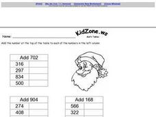 Addition Tables: 3 Digit Numbers Worksheet