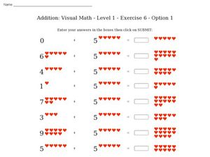 Addition: visual math - level 1- exercise 6 - option 1 Worksheet