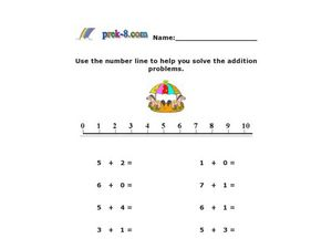 Addition With a Number Line: 0 to 8 Worksheet