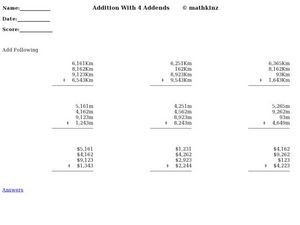 Addition With Four Addends Worksheet
