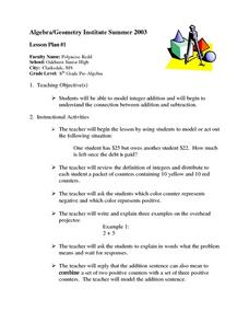 Addition With Integers Lesson Plan
