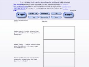 Addition Word Problems 1, Version 4 Worksheet