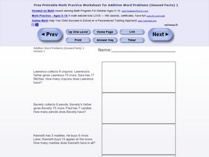 Addition Word Problems-Unused Facts Worksheet