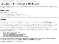 Address Footers and E-Mail Links Lesson Plan