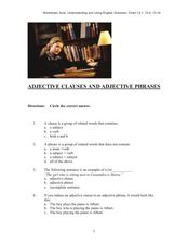 ADJECTIVE CLAUSES AND ADJECTIVE PHRASES Worksheet