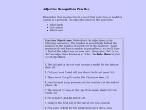 Adjective Recognition Practice Lesson Plan