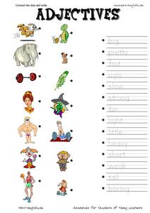 Adjectives: Connect the Dots Worksheet