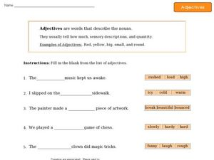 Adjectives - Definition and Sentence Completion Worksheet
