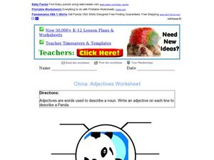 Adjectives Describe a Panda Worksheet