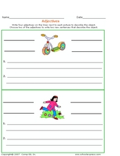 Adjectives: Describe the Pictures Worksheet