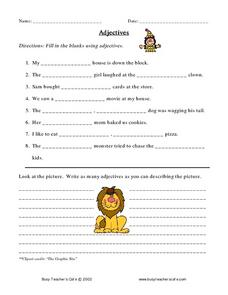 Adjectives (fill in blanks) Worksheet