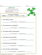 Adjectives: Find the Adjective and What It Describes Worksheet