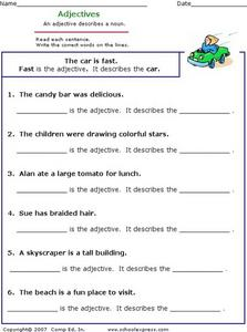 Adjectives: Finding Adjectives in Sentences Worksheet