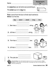 Adjectives for Sizes Worksheet