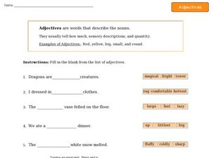 Adjectives - Sentence Completion Worksheet