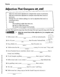 Adjectives That Compare: er, est Worksheet
