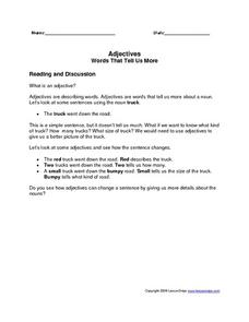 Adjectives: Words That Tell US More Worksheet