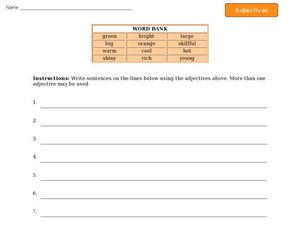 Adjectives - Writing Sentences Worksheet