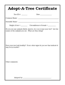 Adopt-A-Tree Certificate Worksheet