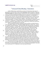 Advanced Critical Reading: Generations Worksheet